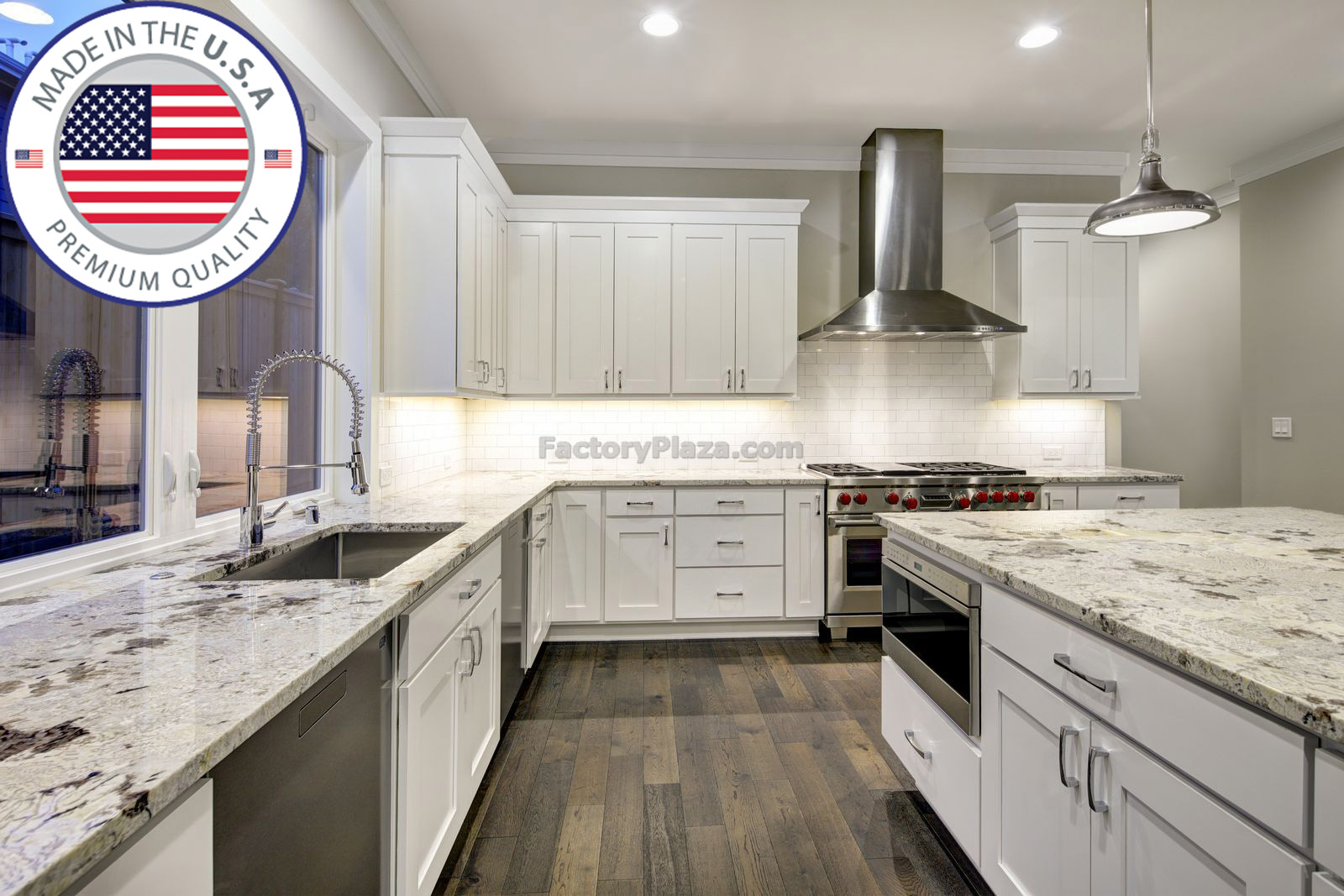 Large spacious kitchen design with white kitchen cabinets white kitchen island with lots of storage white Granite countertops subway tiles and stainless steel appliances. Northwest USA . Northwest USA